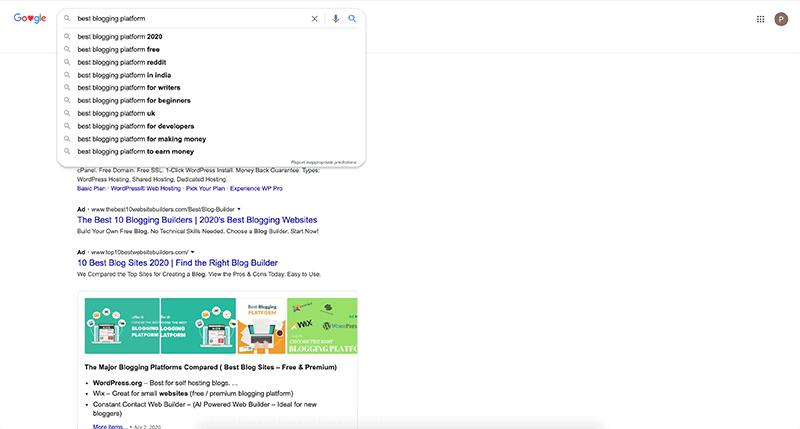 Google Auto-Complete best blogging platform keyword
