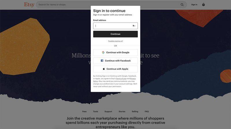 Etsy Seller Account Registration PopUp