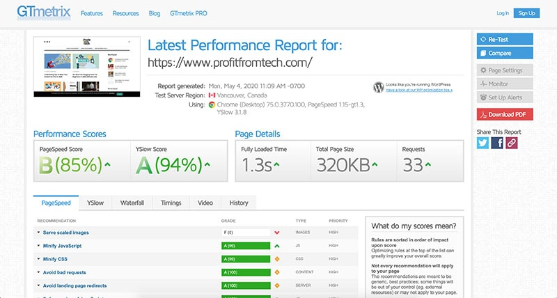 GTMetrix ProfitFromTech speed test