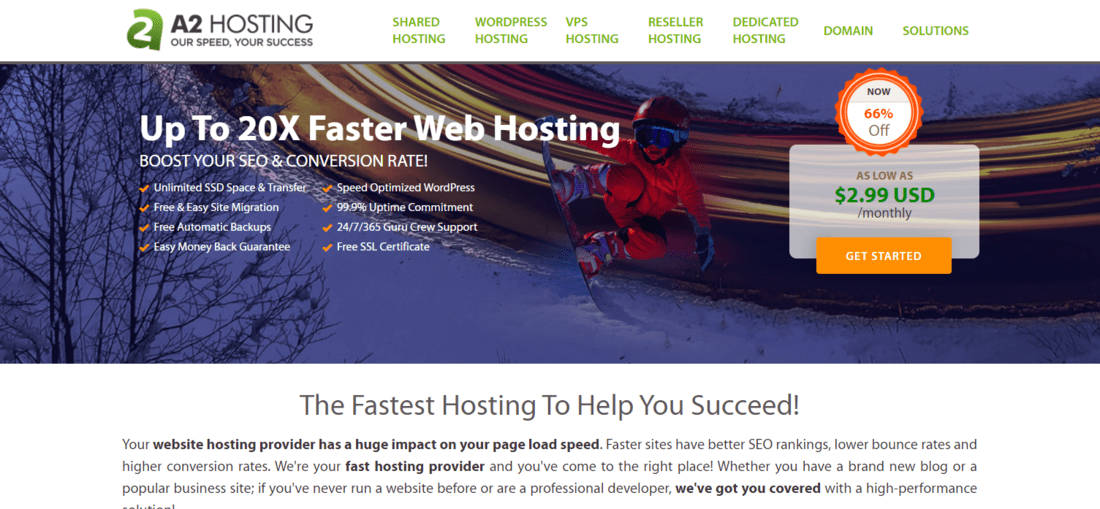 A2Hosting Landing Page