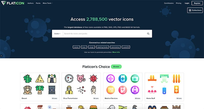 flat icon landing page