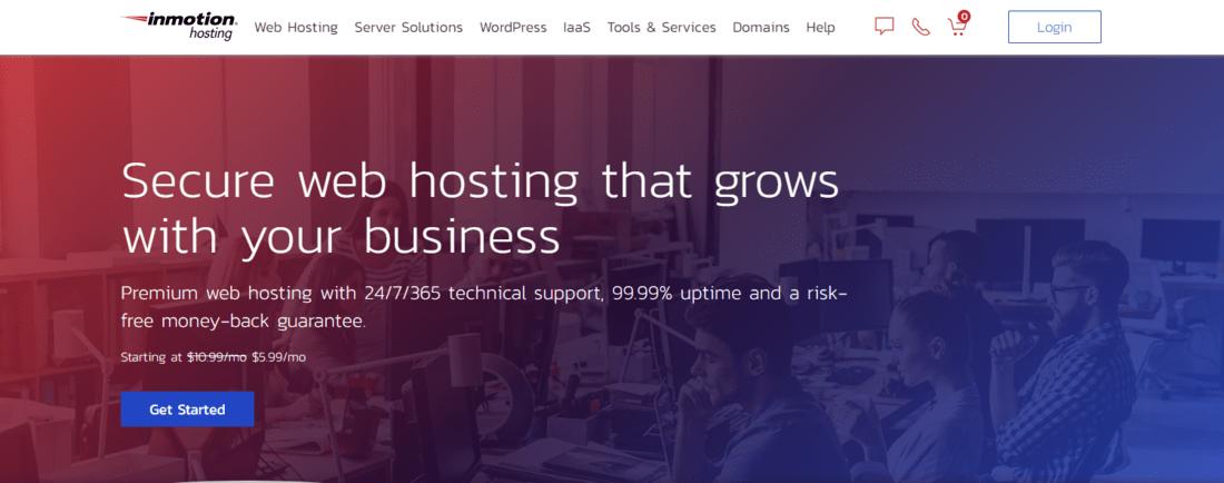 inmotion hosting landing page