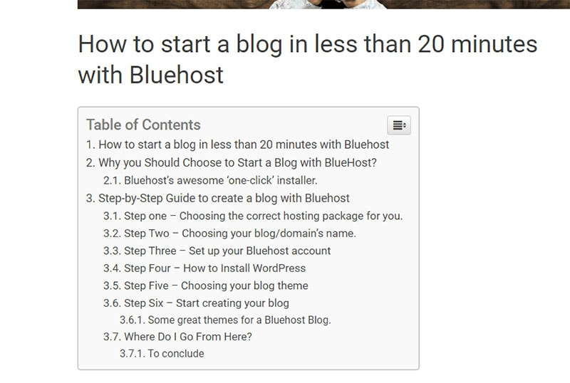 table of contents plugin image