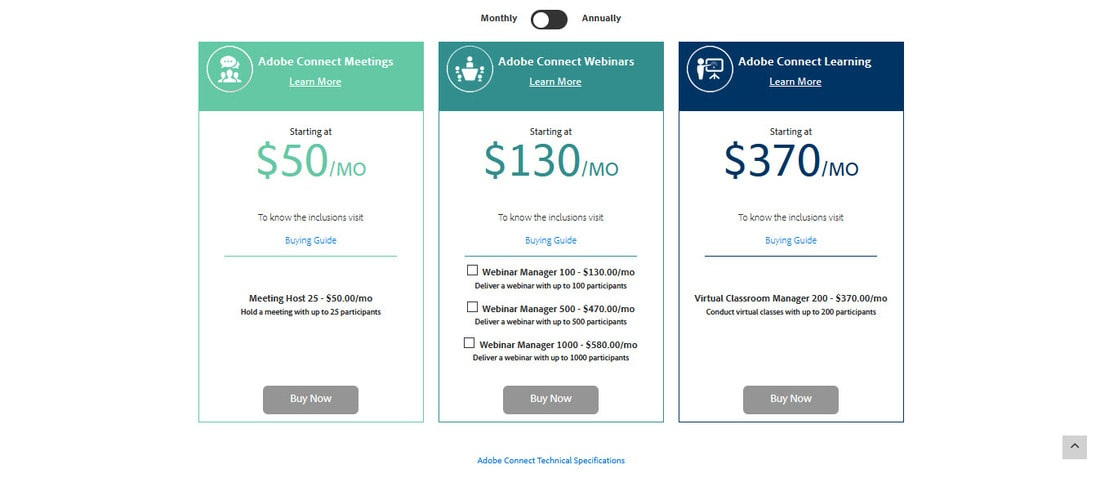 adobe connect pricing