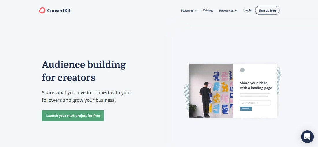 ConvertKit email marketing landing page