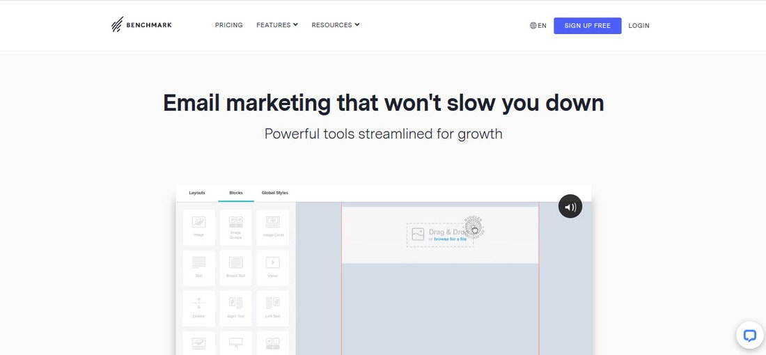benchmark email marketing homepage