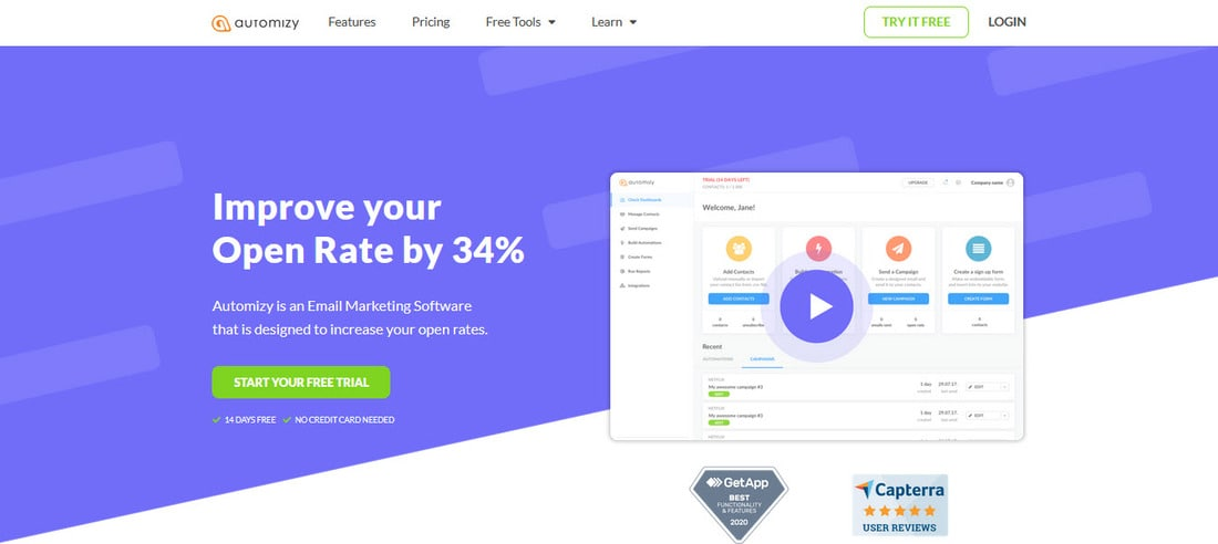 Automizy homepage