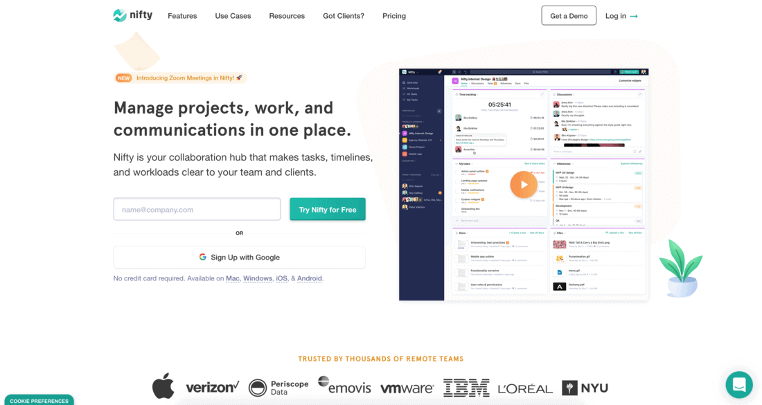 Nifty Project Management Software Landing Page