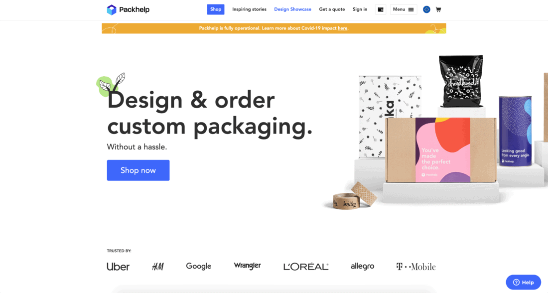 Packhelp Landing Page