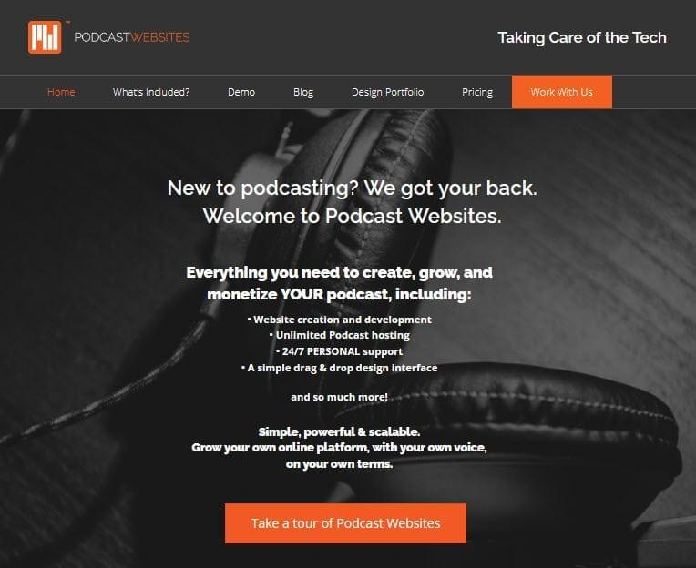 PodcastWebsites landing page