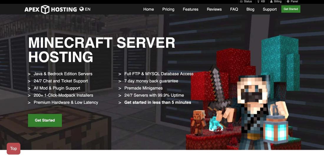 Hosting serwerów Minecraft: hosting apex