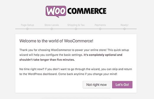 Kreator konfiguracji WooCommerce, krok 1