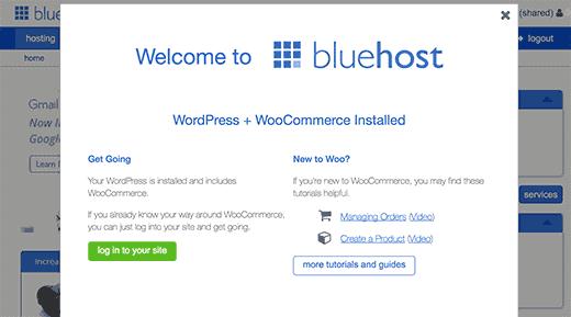 Pierwsze logowanie Bluehost