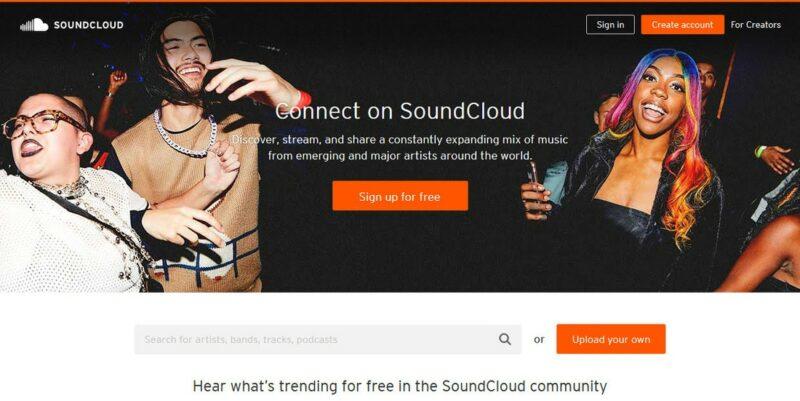 soundcloud landing page