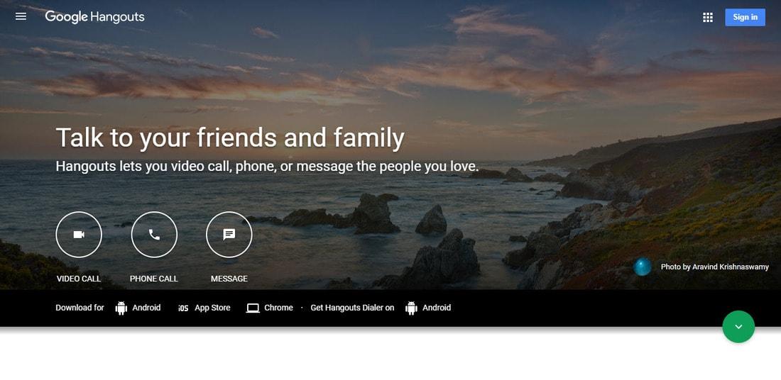 Google Hangouts landing page