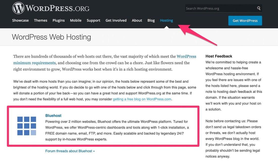 Hosting Bluehost WordPress