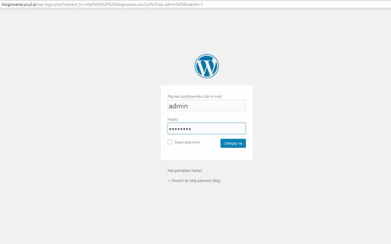 panel logowania wordpress