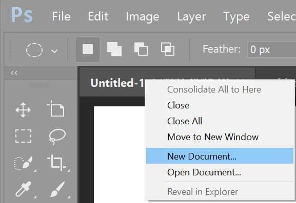 Adobe Photoshop tworzy nowy dokument